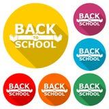 Назад к логотипу школы, задняя часть к значку школы, набору цвета с длинной тенью бесплатная иллюстрация