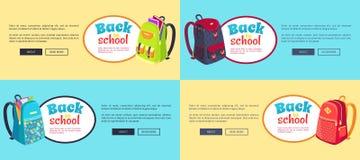 Назад к плакатам сети школы установленным с рюкзаками бесплатная иллюстрация