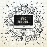 Назад к плакату школы, схематичная тетрадь doodles с литерностью, иллюстрацией вектора Стоковые Фото