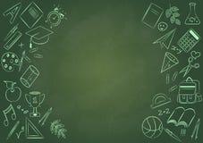 Назад к плакату школы с doodles Стоковые Изображения RF