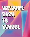 Назад к предпосылке школы на предпосылке градиента светящей холодной в пастельных цветах, перенесенные письма, как отрезано, конц иллюстрация штока