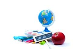 Назад к предпосылке школы с инструментами офиса Стоковое Изображение