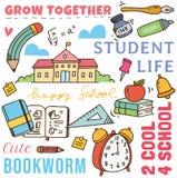 Назад к предпосылке doodle концепции школы бесплатная иллюстрация