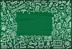 Назад к рамке знамени школы с текстурой от линии значков искусства образования, объектов науки и канцелярские товаров на зеленом  иллюстрация штока