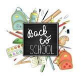Назад к рекламе или знамени школы бесплатная иллюстрация