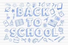 Назад к стилю doodles ручки знамени школы голубой нарисованному рукой бесплатная иллюстрация