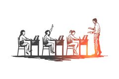 Назад к школе, исследование, образование, знание, уча концепцию Вектор нарисованный рукой изолированный иллюстрация штока