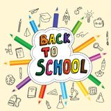 Назад к школе, плакат с doodles нарисованными вручную, карандаши, комплект значков школы, знамя, карточки приглашения, стиль шарж иллюстрация штока