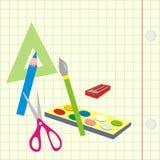 Назад к школе, помощь школы на квадратной бумаге Стоковая Фотография