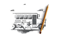 Назад к школе, спешка, цель, сперва концепции в сентябре Вектор нарисованный рукой изолированный иллюстрация вектора