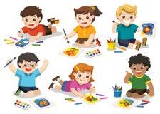 Назад к школе, счастливые дети рисуют изображения бесплатная иллюстрация