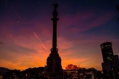 Назад памятника Колумбус, в гавани Барселоны стоковые фотографии rf