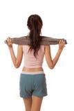 Назад азиатского тощего полотенца владением тренировки девушки Стоковые Фото