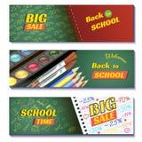 Назад к знаменам продажи 3d школы Смогите использовать для выходить на рынок, продвижение, рогулька, блог, сеть, социальные средс Стоковая Фотография