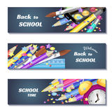 Назад к знаменам продажи 3d школы Смогите использовать для выходить на рынок, продвижение, рогулька, блог, сеть, социальные средс Стоковое Изображение