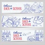 Назад к знаменам школы горизонтальным Схематичные канцелярские принадлежности, классн классный, шина Стоковые Фотографии RF