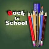 Назад к дизайну вектора знамени продажи школы в красной предпосылке с деталями и объектами школы для магазина уцените продвижение Стоковые Изображения RF