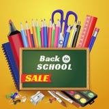 Назад к дизайну вектора знамени продажи школы в красной предпосылке с деталями и объектами школы для магазина уцените продвижение иллюстрация штока