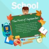 Назад к иллюстрации вектора школы chalkboard Стоковое Изображение