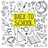 Назад к иллюстрации школы нарисованной рукой Комплект Doodle школьных принадлежностей и формул Стоковые Изображения RF