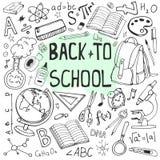 Назад к иллюстрации школы схематичной Комплект Doodle школьных принадлежностей и формул Стоковые Фото