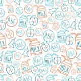 Назад к картине школы безшовной с колоколом и яблоком пакета молока алфавита символов Иллюстрация штока