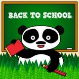 Назад к карточке школы с пандой Стоковые Фотографии RF