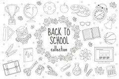 Назад к комплекту школы значков, линия стиль Собрание элементов дизайна doodle, план образования Страница расцветки для Стоковое Фото