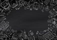 Назад к предпосылке классн классного doodles школы нарисованной вручную Стоковые Фото