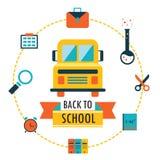 Назад к предпосылке школы с значками темы исследования Бесплатная Иллюстрация