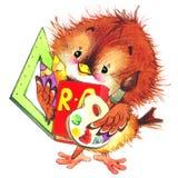 Назад к предпосылке школы с смешной птицей изображение иллюстрации летания клюва декоративное своя бумажная акварель ласточки час иллюстрация штока