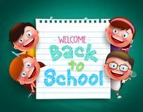 Назад к тексту школы красочному написанному в бумаге с смешными детьми vector характеры Стоковая Фотография RF