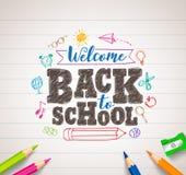 Назад к чертежу вектора школы в белой бумаге с красочными crayons бесплатная иллюстрация