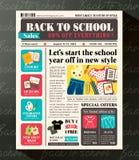 Назад к шаблону дизайна продаж школы выдвиженческому в газете Стоковые Изображения RF