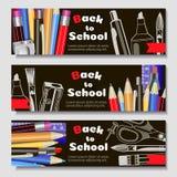 Назад к школе, знамя Шаблоны с инструментами поставек Место для вашего текста Наслоенное реалистическое 3d, вектор иллюстрация штока