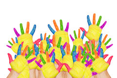 Назад к школе! Красочные поднятые руки стоковое изображение rf
