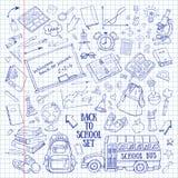 Назад к школе нарисованные вручную doodles установили в тетрадь Стоковое Изображение RF