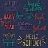 Назад к школе помечая буквами вручную Стоковые Изображения