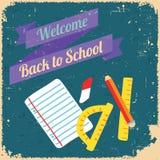 Назад к школе, плакат дизайна ретро тип Стоковое Изображение