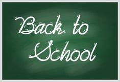 Назад к школе рукописной с белым мелом на зеленом школьном правлении Стоковая Фотография