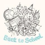 Назад к школе - сделайте эскиз к иллюстрации объектов образования Стоковые Фотографии RF