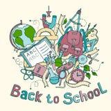 Назад к школе - сделайте эскиз к покрашенной иллюстрации объектов образования Стоковое Фото