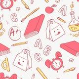 Назад к школе doodle возражает предпосылку Нарисованная рукой картина школьных принадлежностей безшовная Стоковые Фотографии RF