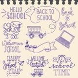 Назад к ярлыкам школы в блокноте Стоковое Изображение