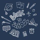 Назад к doodles школьных принадлежностей Стоковое Фото