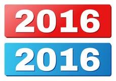 Название 2016 на голубых и красных кнопках прямоугольника иллюстрация штока