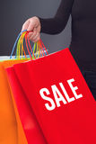 Название продажи напечатанное на красной хозяйственной сумке Стоковая Фотография