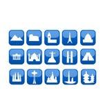 наземные ориентиры иконы установили мир перемещения Стоковая Фотография RF