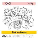 Назначение детей s для того чтобы найти 10 цветков Стоковые Фото