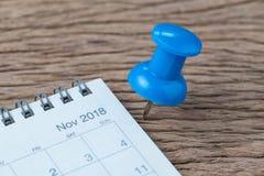 Назначение календаря ноября 2018, крайний срок, праздник или дата pl Стоковые Изображения